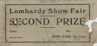 Lombardy Show Fair Prize Certificate