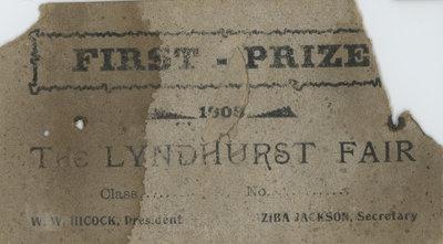 Lyndhurst Fair Prize Certificate