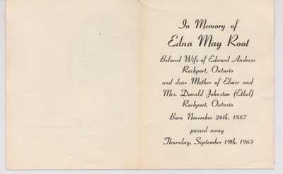Funeral Program, Edna May Root (inside)