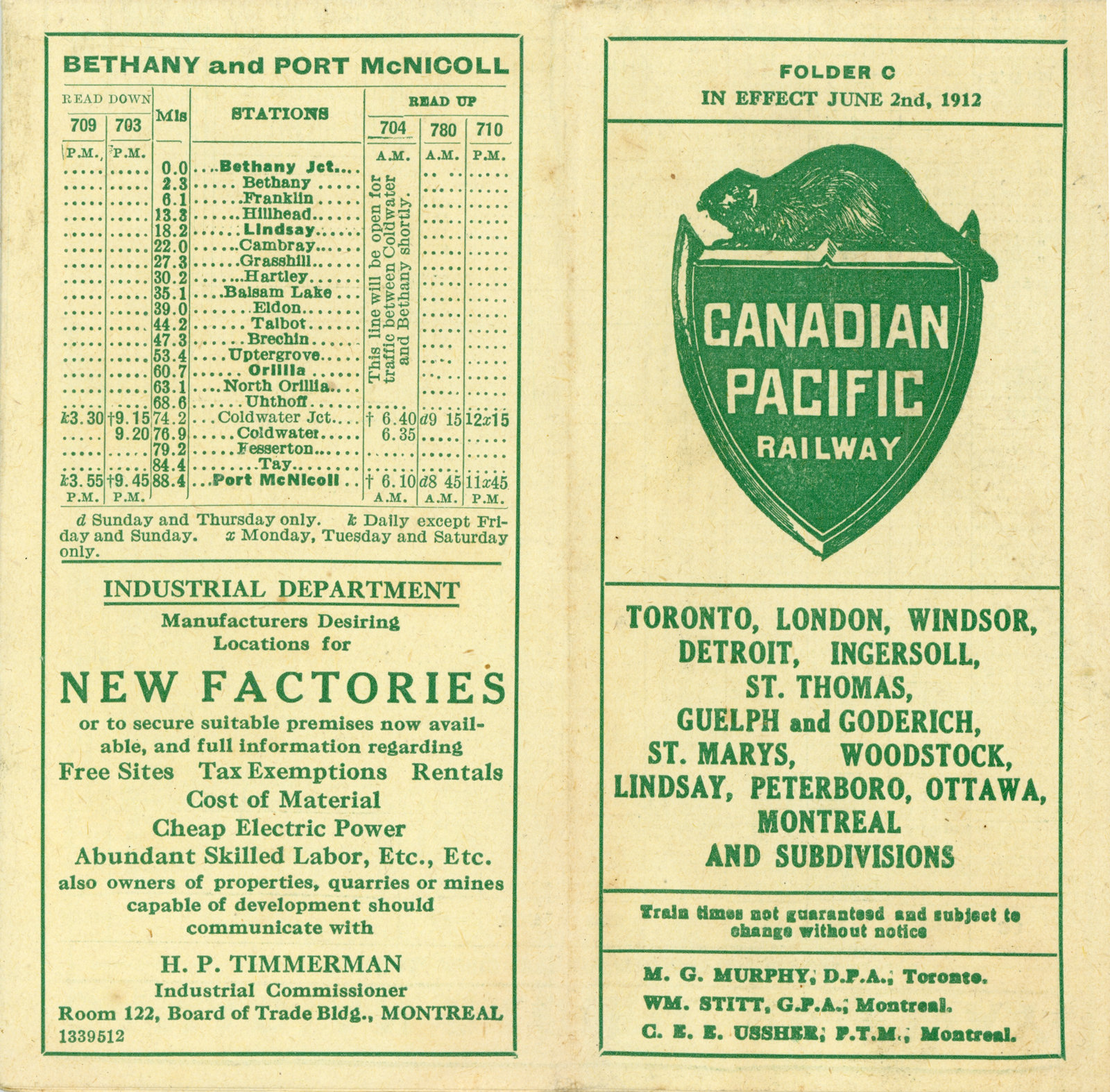 full image view: train schedule, canadian pacific railway: lakes and