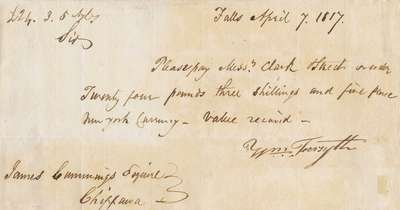 Promissory Note Between William Forsyth and James Cummings- 1817