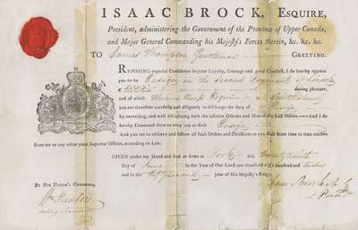 Military Commission For James Thompson- June 29, 1812