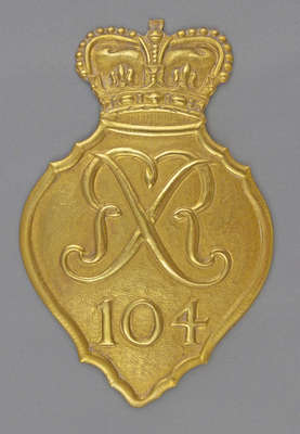104th Regiment of Foot Shako Plate