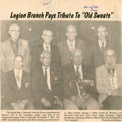 """Legion branch pays tribute to """"old sweats"""""""