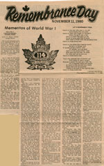 Remembrance Day November 11, 1980:  Mementos of World War I