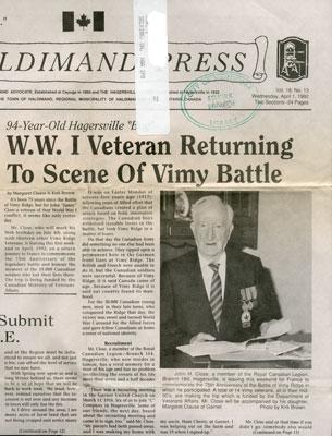 World War I veteran returns to scene of Vimy battle