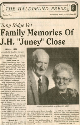 "Vimy Ridge Vet; Family memories of J.H. ""Juney"" Close"