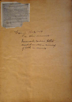 Scrapbook- War of 1812-14 and other Documents, Monuments, Cairns, tablets erected in 1923 in memory of battles in 1912-1914