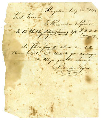 Bill of Account from Richardson & Lyons to Lt. Leonard- 1814