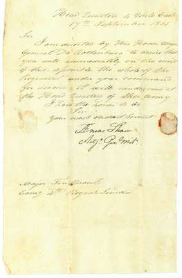 Letter from Aenas Shaw, Adjutant General of the Militia, to Major Ten Broeck commanding the 4th Regiment of the Lincoln Militia