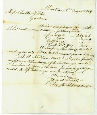 Letter  to Mr. Ball & Mr. Nelles, Grimsby, from Forsyth, Richardson Company