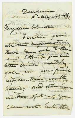 Letter to Colonel McDougal from Sir Allan McNabb regarding the spot where Sir Isaac Brock fell, August 1860