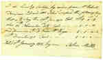 Affidavit of Payment between John Mills, by order from Mr. Robert Tompson, to John Axford