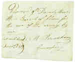 Receipt for 3 barrels of flour from David Mosers to A. Bradshaw, Commissary- December, 1813