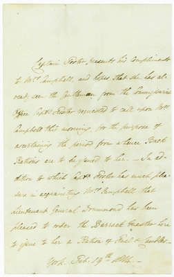 Memo Authorizing a Ration OF Fuel and Candles to Mrs. Elizabeth Campbell- February 19, 1814