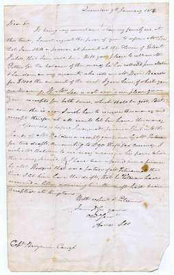 Letter from Amos Lee in Queenston to Captain Benjamin Carryl in New York: Prisoner at Gilbert Fields House- January 9, 1814,