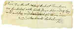 Receipt for Purchase of Food for 3 Men by Robert Thompson- December 9th, 1813
