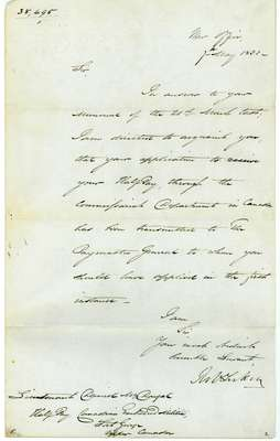 Letter from the War Office to Lieut. Daniel McDougal Regarding his Half Pay for the Canadian Embodied Militia- March 27, 1813