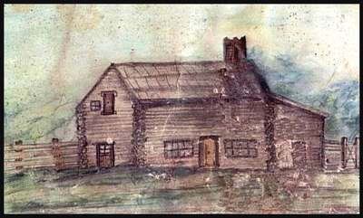Sketch of the William Riley Log House- C. 1880