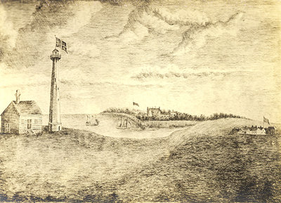 Print of Mississauga Point Lighthouse and Fort Niagara