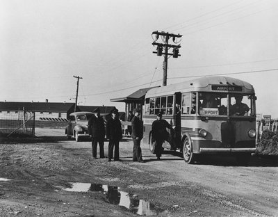 Boarding Bus at Oshawa Airport