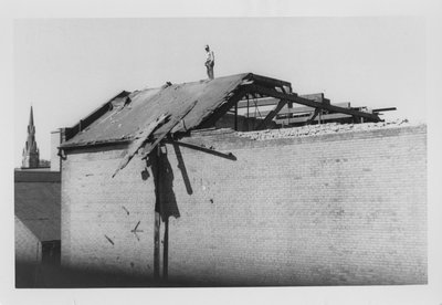 LH2817 Man on roof of unknown building post-fire