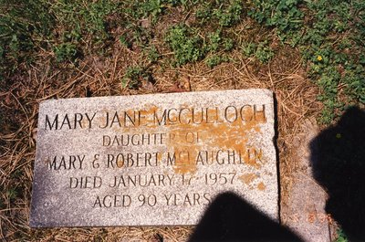 LH0608 Headstone for Mary Jane McCullough (Daughter of Robert McLaughlin)
