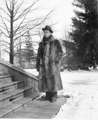 LH1318 J. Aubrey Morphy in a fur coat