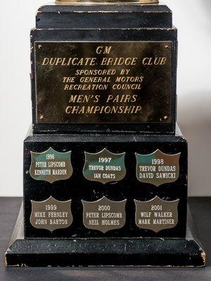 GM Bridge League Men's Pairs Championship Trophy
