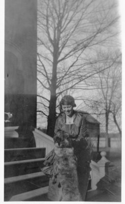 Emily Irene Morphy with dog on steps
