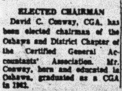 Elected Chairman (David C. Conway)