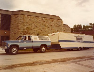 New Bookmobile beside the McLaughlin library