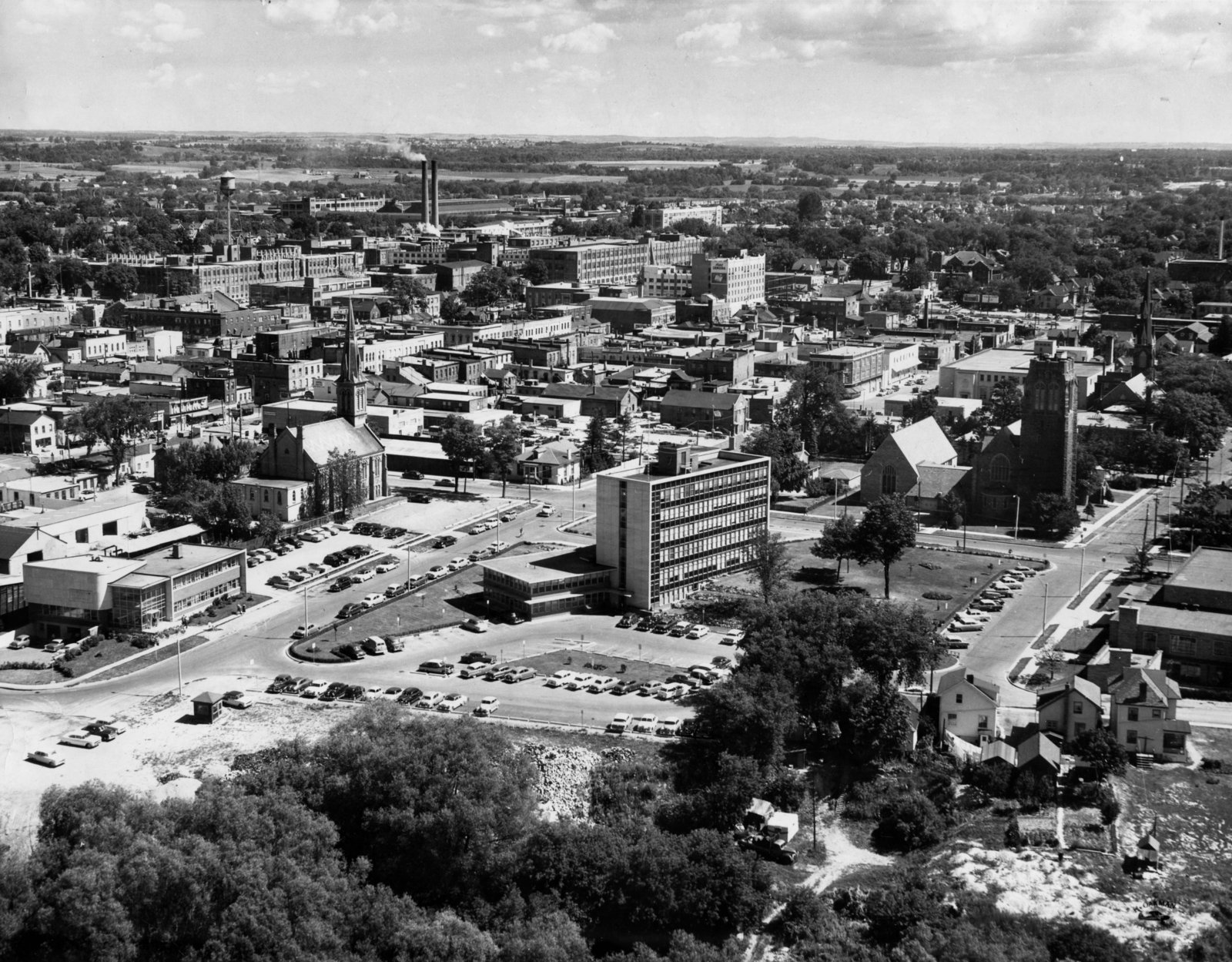 Lh2047 Aerial View City Hall Mclaughlin Library Oshawa Newspapers