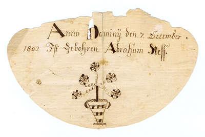 Fraktur Mennonite Birth Certificate- Abraham Neff, 1802