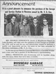 Announcement of new ownership of the Rosseau Garage - RI0013