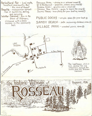 Pamphlet on the Village of Rosseau - Page 1 of 2 - get year - RV0021a