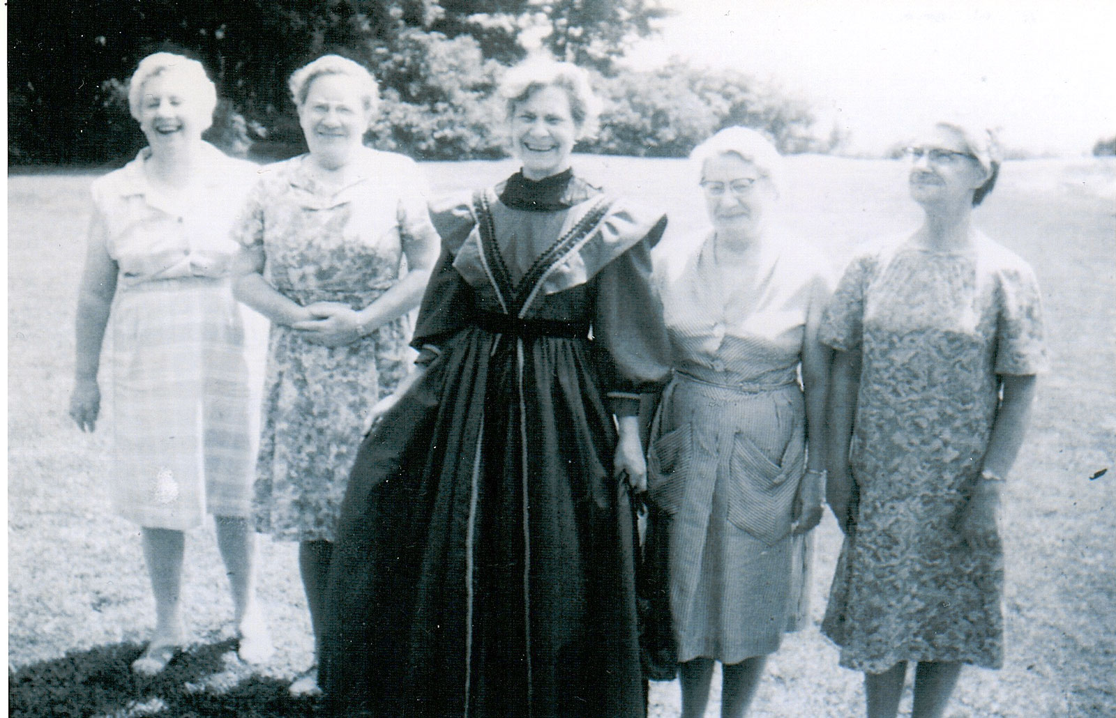 The Beley Sisters - Lucy, Marjory, Amy, Lillie, & Ethel - in 1967. The woman in the middle wears a Centennial gown. Courtesy the Rosseau Historical Society.