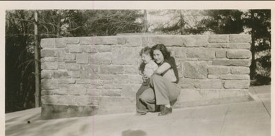RI0182 - Dan Fraser with his mother Betty (    ) Fraser - 1950 - get location - Chimney built by Allan Fraser (Dan`s father)