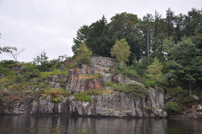 "Stonemasonry - Stone Wall in front of ""Ferncliffe"", Lake Rosseau - built in the 1890s by Joseph Beaumont -  RI0191"