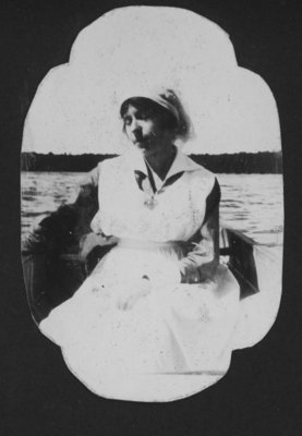 Nurse in boat on Indian Lake