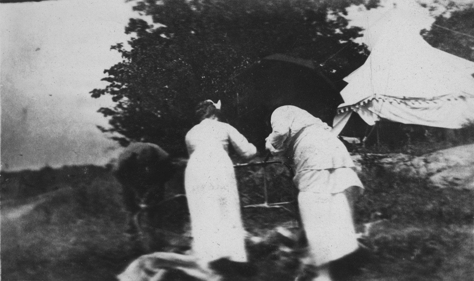 Nurses near tent at Fettercairn