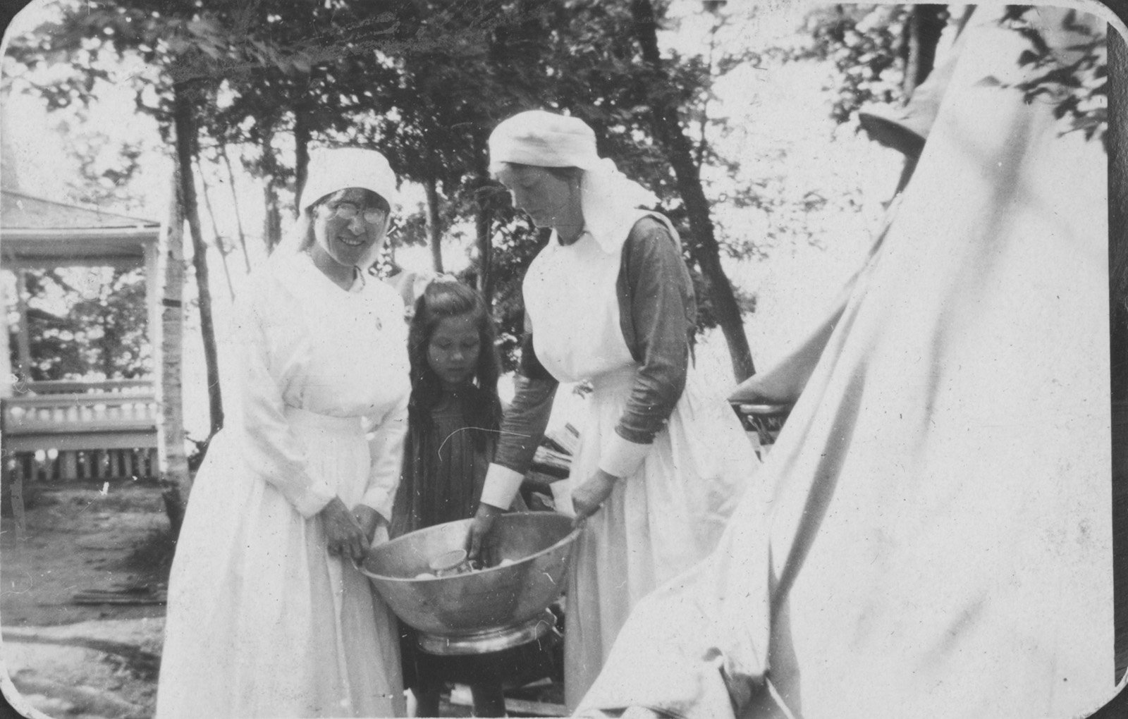 Nurses at tent at Fettercairn