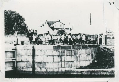 Band playing Newboro Lock Station probably for a regatta