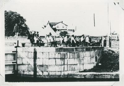 Band playing Newboro Lock Station probably for a regatta