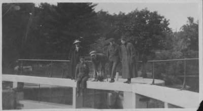 Soldiers on lock gates at Chaffeys Lock