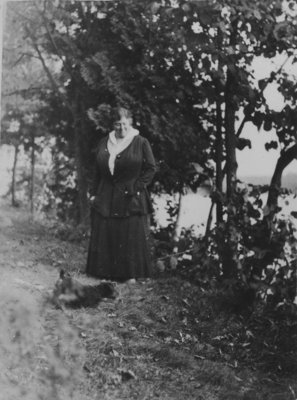 Woman and dog at Fettercairn