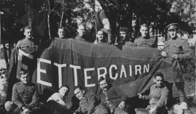 Soldiers holding Fettercairn banner