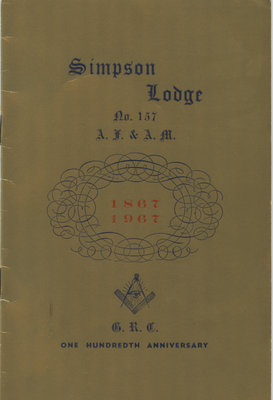 Booklet Cover: Newboro Simpson Masonic Lodge History