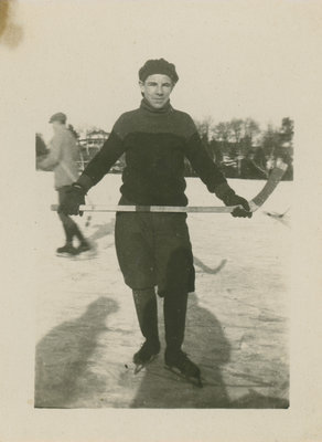 Raymond Fleming playing hockey