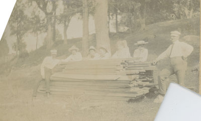 Group with sawn lumber at Chaffey's Locks
